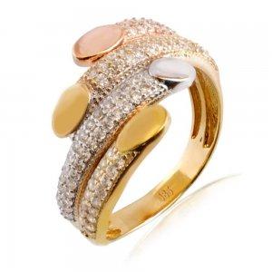 Δαχτυλίδι γυναικείο ολόπετρο από χρυσό, λευκό χρυσό και ροζ χρυσό 14Κ σε ιδιαίτερο σχεδιασμό, διακοσμημένο με λευκές πέτρες ζιργκόν.
