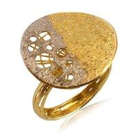 Δαχτυλίδι μοντέρνο δίσκος από χρυσό και λευκό χρυσό 14Κ, σε μοντέρνο κυκλικό σχέδιο. Έχει σαγρέ φινίρισμα και διάτρητες κυκλικές λεπτομέρειες.