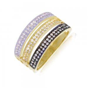 Τριπλό δαχτυλίδι σειρέ από χρυσό και λευκό χρυσό 14Κ με λεπτομέρεια σε μαύρο φινίρισμα, διακοσμημένο με λευκά ζιργκόν.