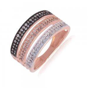 Τριπλό σειρέ δαχτυλίδι από χρυσό και ροζ χρυσό 14Κ με λεπτομέρεια σε μαύρο φινίρισμα, διακοσμημένο με λευκά ζιργκόν.