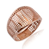 Γυναικείο δαχτυλίδι ροζ χρυσό 14Κ. Έχει διάτρητο ιδιαίτερο σχέδιο και λουστρέ φινίρισμα.