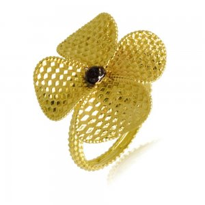 Δαχτυλίδι γυναικείο λουλούδι με πέταλα,από χρυσό 14Κ, με ανάγλυφο διάκοσμο.