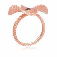 Δαχτυλίδι λουλούδι ροζ χρυσό 14Κ με πέταλα με ανάγλυφο διάκοσμο.