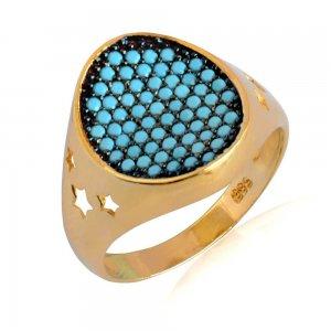 Δαχτυλίδι σεβαλιέ χρυσό 14Κ σε οβάλ σχήμα, με γαλάζιες συνθετικές τυρκουάζ πέτρες σε όλη την επιφάνεια και διάτρητα αστέρια στο πλάι.