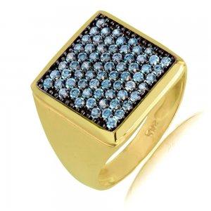 Δαχτυλίδι γυναικείο σεβαλιέ από χρυσό 14Κ σε τετράγωνο σχήμα, διακοσμημένο με γαλάζιες πέτρες ζιργκόν.