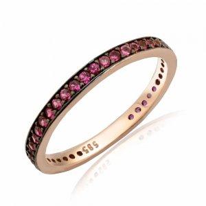 Βεράκι ροζ χρυσό 14Κ με διακοσμημένο με φούξια πέτρες ζιργκόν και αντικέ λεπτομέρεια.