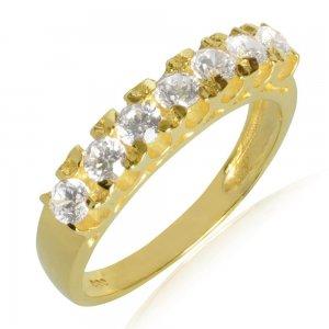 Δαχτυλίδι σειρέ χρυσό 14Κ σε λουστρέ επεξεργασία, διακοσμημένο με λευκά ζιργκόν.