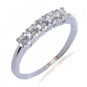 Γυναικείο δαχτυλίδι σειρέ από λευκό χρυσό 14Κ, διακοσμημένο με λευκά ζιργκόν.
