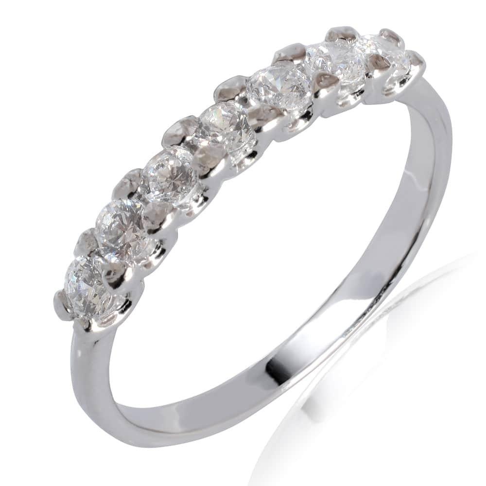 Δαχτυλίδι σειρέ από λευκό χρυσό 14Κ, διακοσμημένο με λευκές πέτρες ζιργκόν.