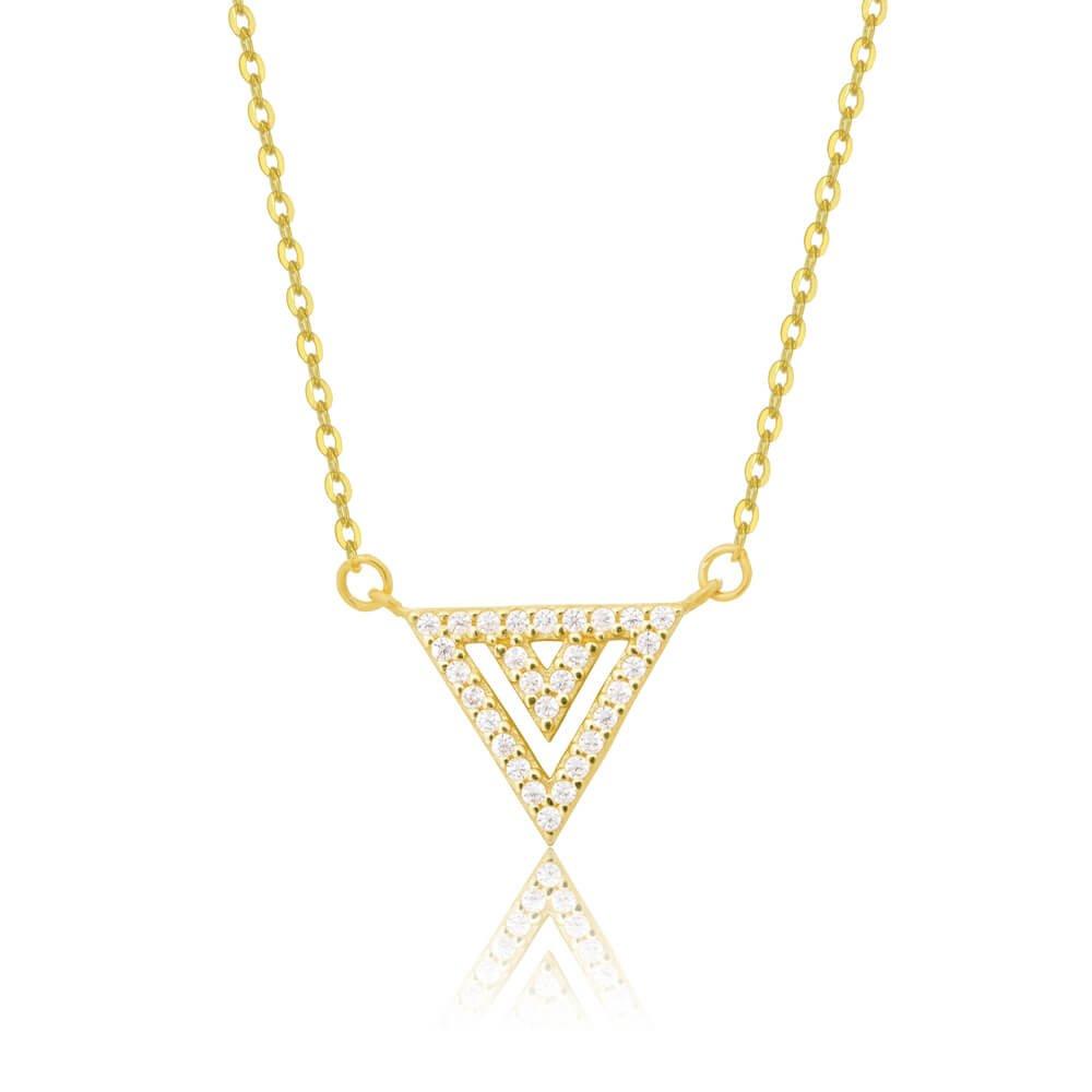 Κολιέ τρίγωνο από χρυσό 14Κ, σε διάτρητο σχέδιο, διακοσμημένο με λευκές πέτρες ζιργκόν.