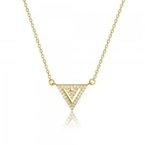 Κολιέ τρίγωνο ασημένιο 925 επιχρυσωμένο, με κρεμαστό διάτρητο, διακοσμημένο με λευκές πέτρες ζιργκόν.