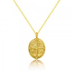 Επίχρυσο κωνσταντινάτο κολιέ, από ασήμι 925, σε οβάλ σχήμα, με ανάγλυφο τύπωμα και στις δύο όψεις.
