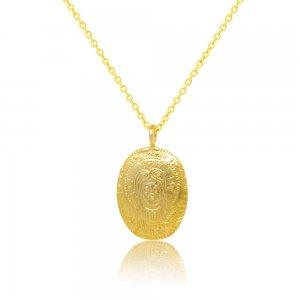 Ασημένιο κωνσταντινάτο επίχρυσο κολιέ, από ασήμι 925, σε οβάλ σχήμα, με ανάγλυφο τύπωμα και στις δύο όψεις.