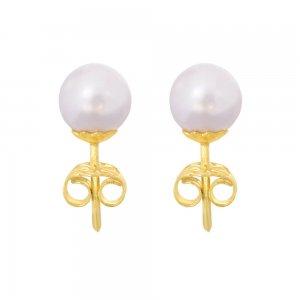 Γυναικεία σκουλαρίκια πέρλες, από ασήμι 925 επιχρυσωμένο σε υπέροχο διαχρονικό σχέδιο.