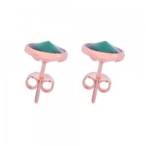 Καρφωτά σκουλαρίκια με πράσινες πέτρες swarovski σε στρογγυλό σχήμα, από ασήμι 925 ροζ επιχρυσωμένο.