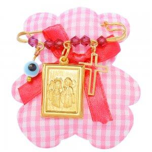 Παραμάνα νεογέννητου ασημένια 925 για κοριτσάκι. Είναι επίχρυσωμένη και διακοσμημένη με φυλαχτό με την Παναγία, ματάκι, σταυρουδάκι και γαλάζιες πέτρες.