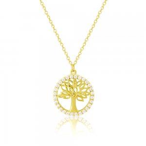 Κολιέ χρυσό δέντρο της ζωής 14Κ. Tο δέντρο έχει λουστρέ φινίρισμα και διάτρητα φύλλα. Περιβάλλεται από κύκλο διακοσμημένο με λευκά ζιργκόν.