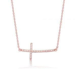 Πλάγιος σταυρός κολιέ ροζ χρυσό 14Κ, διακοσμημένος με λαμπερά λευκά ζιργκόν.