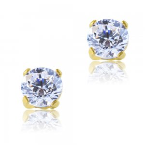 Μονόπετρα σκουλαρίκια με λευκές πέτρες ζιργκόν, δεμένα σε βάση από χρυσό 14Κ, με κωνικό σχήμα και τέσσερα στηρίγματα. Έχουν διάμετρο 0.5 cm.