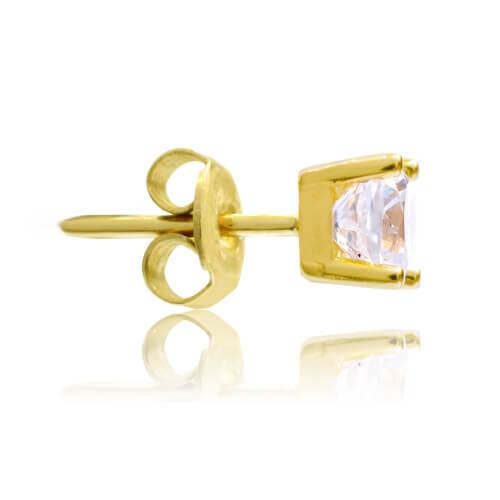 Σκουλαρίκια μονόπετρα με λευκές πέτρες ζιργκόν, δεμένα σε βάση από χρυσό 14Κ, με τετράγωνο σχήμα και τέσσερα στηρίγματα. Έχουν διάμετρο 0.5 cm.
