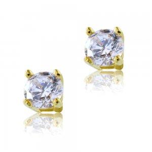 Μονόπετρα σκουλαρίκια με ζιργκόν πέτρες σε λευκό χρώμα, δεμένα σε βάση από χρυσό 14Κ, με κωνικό σχήμα και τέσσερα στηρίγματα. Έχουν διάμετρο 0.4 cm.