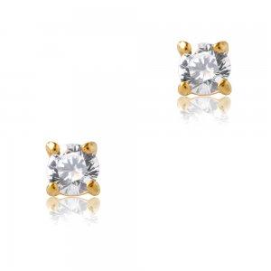 Μονόπετρα γυναικεία σκουλαρίκια από χρυσό 14Κ, διακοσμημένα με λευκές πέτρες ζιργκόν. Είναι δεμένα σε βάση με κωνικό σχήμα και τέσσερα στηρίγματα. Έχουν διάμετρο 0.3 cm.
