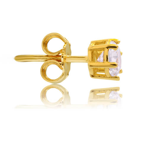 Σκουλαρίκια μονόπετρα χρυσά 14Κ, διακοσμημένα με λευκές πέτρες ζιργκόν. Είναι δεμένα σε εξαγωνική βάση με έξι στηρίγματα. Έχουν διάμετρο 0.5 cm.