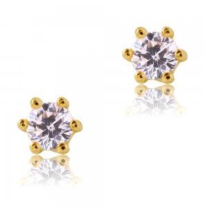 Μονόπετρα σκουλαρίκια χρυσά 14Κ, διακοσμημένα με λευκές πέτρες ζιργκόν. Είναι δεμένα σε εξαγωνική βάση με έξι στηρίγματα. Έχουν διάμετρο 0.45 cm.
