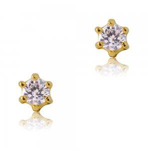 Μονόπετρα σκουλαρίκια γυναικεία από χρυσό 14Κ, διακοσμημένα με λευκές πέτρες ζιργκόν. Είναι δεμένα σε εξαγωνική βάση με έξι στηρίγματα. Έχουν διάμετρο 0.35 cm.