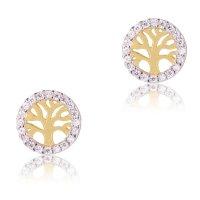 Σκουλαρίκια δέντρο της ζωής γυναικεία από χρυσό και λευκό χρυσό 14Κ σε λουστέ φινίρισμα. Περιβάλλονται από κυκλικό περίγραμμα διακοσμημένο με λευκές πέτρες ζιργκόν.