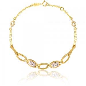 Χρυσό βραχιόλι 14Κ γυναικείο σε μονδικό σχέδιο. Αποτελείται από λεπτή διπλή αλυσίδα, διακοσμημένη με διάτρητους ορθογώνιους κρίκους και λευκές πέτρες ζιργκόν.