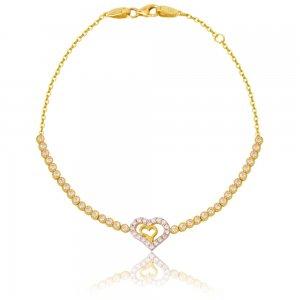 Χρυσό βραχιόλι καρδιά 14Κ γυναικείο σε υπέροχο σχέδιο. Αποτελείται από διακριτική αλυσίδα, διακοσμημένη με διάτρητη διπλή καρδιά και λευκές πέτρες ζιργκόν στη σειρά δεξιά και αριστερά της καρδιάς (σχέδιο ριβιέρα).