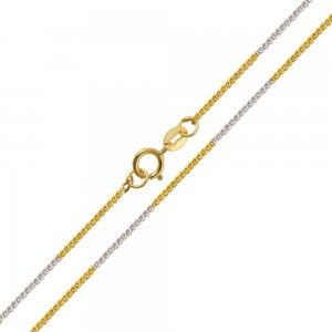 Αλυσίδα δίχρωμη σπίγκα, από χρυσό και λευκόχρυσο 14Κ με λουστρέ φινίρισμα σε ιδιαίτερο σχέδιο με πυκνή πλέξη. Εντυπωσιακή επιλογή για ανδρικό και γυναικείο κόσμημα ή σταυρό.