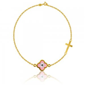 Γυναικείο βραχιόλι από ασήμι 925 επίχρυσο, διακοσμημένο με μοτίφ από ροζ σμάλτο και μικρό σταυρό.