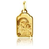 Παναγία φυλακτό για νεογέννητο από χρυσό 14Κ. Είναι διακοσμημένο με χραγμένη απεικόνιση της Παναγίας Βρεφοκρατούσας. Συνδυάστε το με παραμάνα ή αλυσίδα.