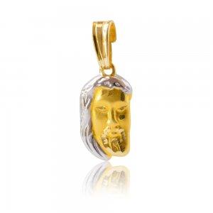 Φυλακτό Χριστός από δίχρωμο χρυσό 14Κ με απεικόνιση του Χριστού σε ανάγλυφο σχέδιο.