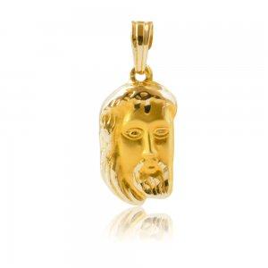 Κρεμαστό Χριστός φυλαχτό από χρυσό 14Κ με απεικόνιση του Χριστού σε ανάγλυφο σχέδιο.