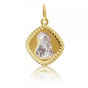Φυλαχτό Παναγία δίχρωμο, από χρυσό και λευκό χρυσό 14Κ. Είναι διακοσμημένο με ανάγλυφη απεικόνιση της Παναγίας και σφυρίλατο περίγραμμα. Συνδυάστε το με αλυσίδα ή παιδική παραμάνα.