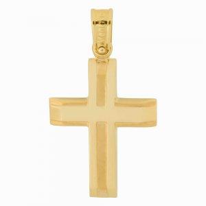 Χρυσός σταυρός βάπτισης 14Κ για αγόρι σε μοντέρνο σχέδιο με συνδυασμό λουστρέ και ματ φινιρίσματος και ανάγλυφων στοιχείων. Συνδυάστε τον με τις προτεινόμενες αλυσίδες.
