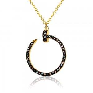 Κολιέ κύκλος διάτρητος από χρυσό 14Κ, διακοσμημένος περιμετρικά με μαύρα ζιργκόν.