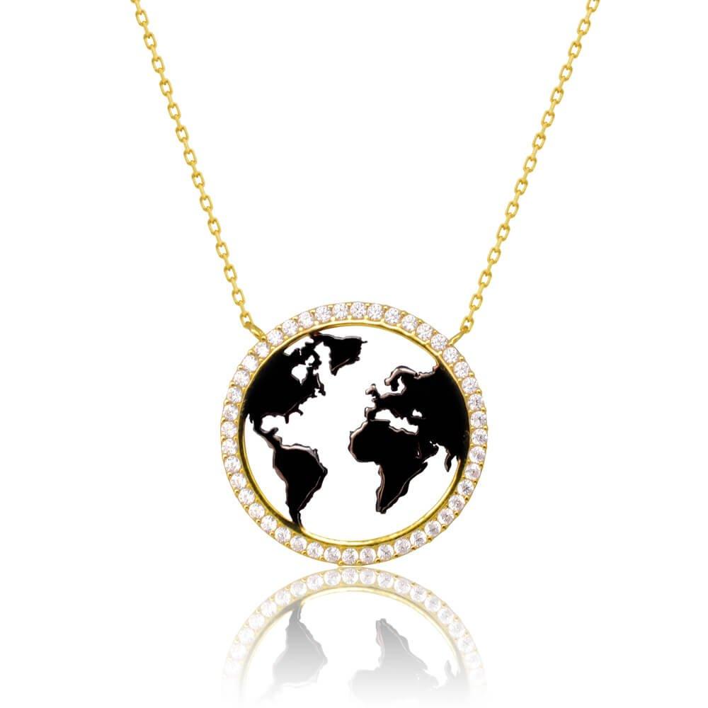 Γυναικείο κολιέ κόσμος από χρυσό 14Κ σε λουστρέ φινίρισμα. Έχει κυκλικό κρεμαστό μοτίφ με διάτρητο σχέδιο χάρτη της Γης σε φινίρισμα αντικέ μαυρισμένο και λευκά ζιργκόν περιμετρικά.