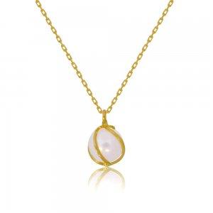 Γυναικείο κολιέ με μαργαριτάρι (καλλιεργημένο) από χρυσό 14Κ. Το μαργαριτάρι έχει διάμετρο 7 - 7.5 mm και περικλείεται περίτεχνα σε χρυσό δέσιμο.