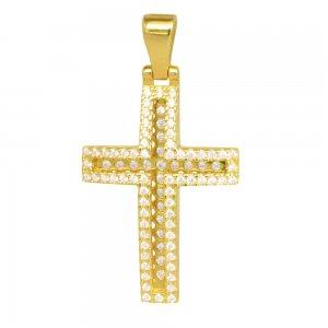 Σταυρός για κορίτσι ολόπετρος, από χρυσό 14Κ. Είναι διακοσμημένος με λευκά ζιργκόν σε όλη την επιφάνεια σε δύο επίπεδα. Συνδυάστε τον με τις προτεινόμενες αλυσίδες.