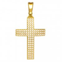 Χρυσός σταυρός για κορίτσι βαπτιστικός 14Κ. Είναι διπλής όψης διακοσμημένος με λευκά ζιργκόν σε όλη την επιφάνεια ή με διάτρητο πλέγμα. Συνδυάστε τον με τις προτεινόμενες αλυσίδες.