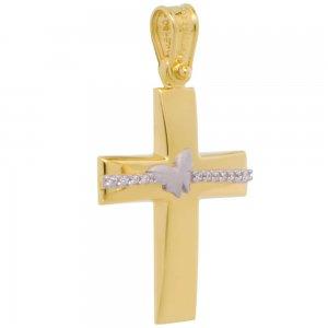 Σταυρός για κορίτσι δίχρωμος από χρυσό 14Κ. Έχει λουστρέ κυρτή επιφάνεια διακοσμημένη με διακριτικά ζιργκόν και πεταλούδα από λευκό χρυσό σε ματ φινίρισμα. Συνδυάστε τον με τις προτεινόμενες αλυσίδες.