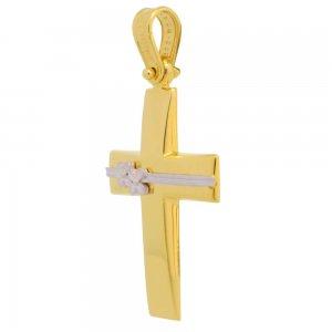 Σταυρός βάπτισης για κορίτσι από χρυσό 14Κ. Έχει λουστρέ κυρτή επιφάνεια διακοσμημένη με διακριτικά λουλουδάκια από λευκό χρυσό σε ματ φινίρισμα. Συνδυάστε τον με τις προτεινόμενες αλυσίδες.
