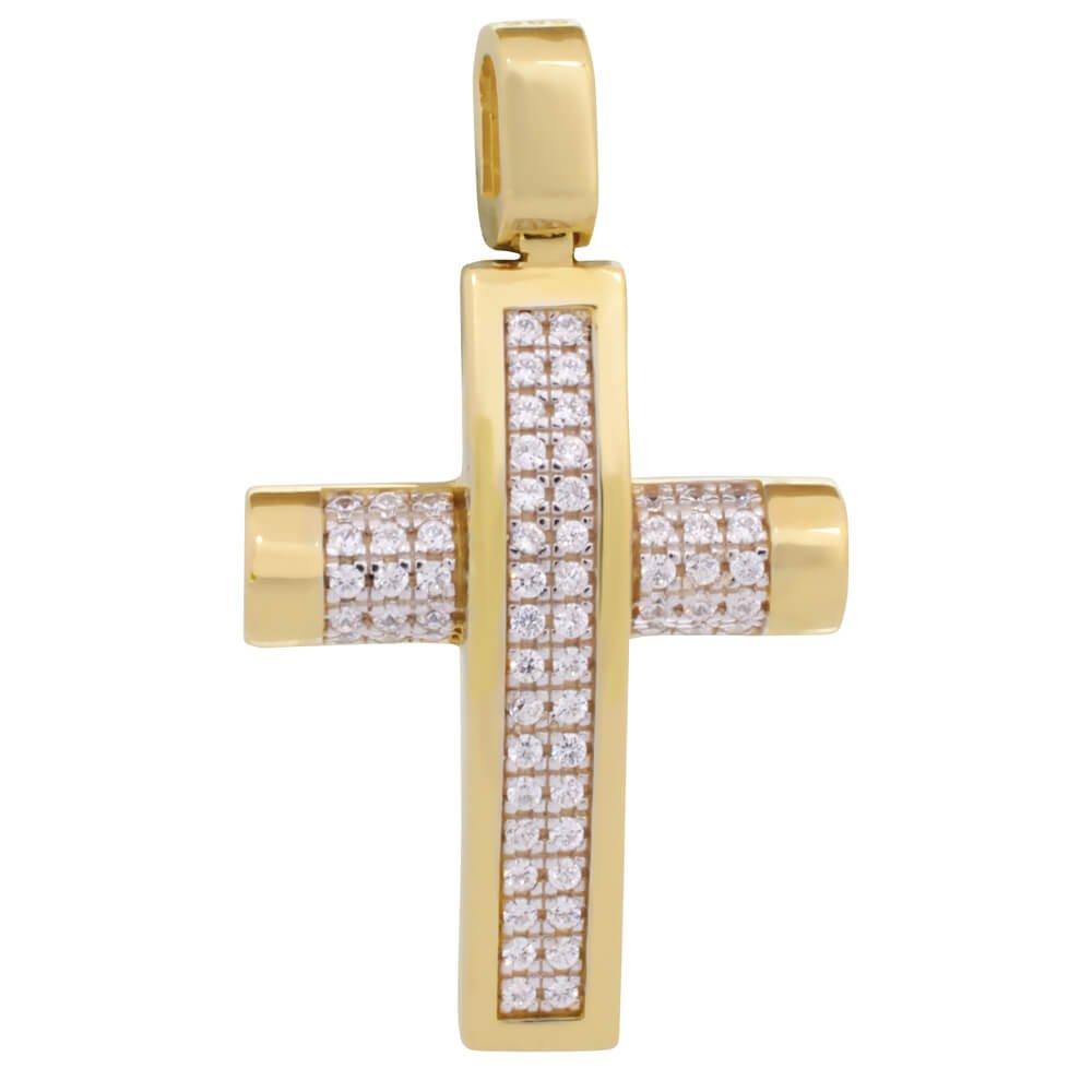 Σταυρός για κορίτσι βάπτιστικός. Είναι ολόπετρος από χρυσό 14Κ σε ιδιαίτερο σχέδιο, διακοσμημένο με λευκά ζιργκόν. Συνδυάστε τον με τις προτεινόμενες αλυσίδες.