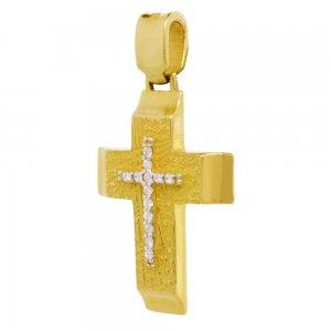 Βαπτιστικός σταυρός για κορίτσι διπλής όψης, από χρυσό 14Κ. Έχει ανάγλυφη υφή και λουστρέ λεπτομέρεια στα άκρα και είναι διακοσμημένος με ζιργκόν στο κέντρο. Συνδυάστε τον με τις προτεινόμενες αλυσίδες.