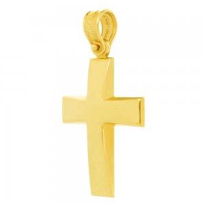 Aνδρικός σταυρός βάπτισης από χρυσό 14 καρατίων. Έχει καμπυλωτή επιφάνεια με λείο λουστρέ φινίρισμα. Συνδυάστε τον με τις προτεινόμενες αλυσίδες.