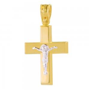 Σταυρός για αγόρι, από χρυσό και λευκό χρυσό 14Κ με λουστρέ και ματ υφή. Είναι διακσομημένος ανάγλυφο λευκόχρυσο Εσταυρωμένο. Συνδυάστε τον με τις προτεινόμενες αλυσίδες.